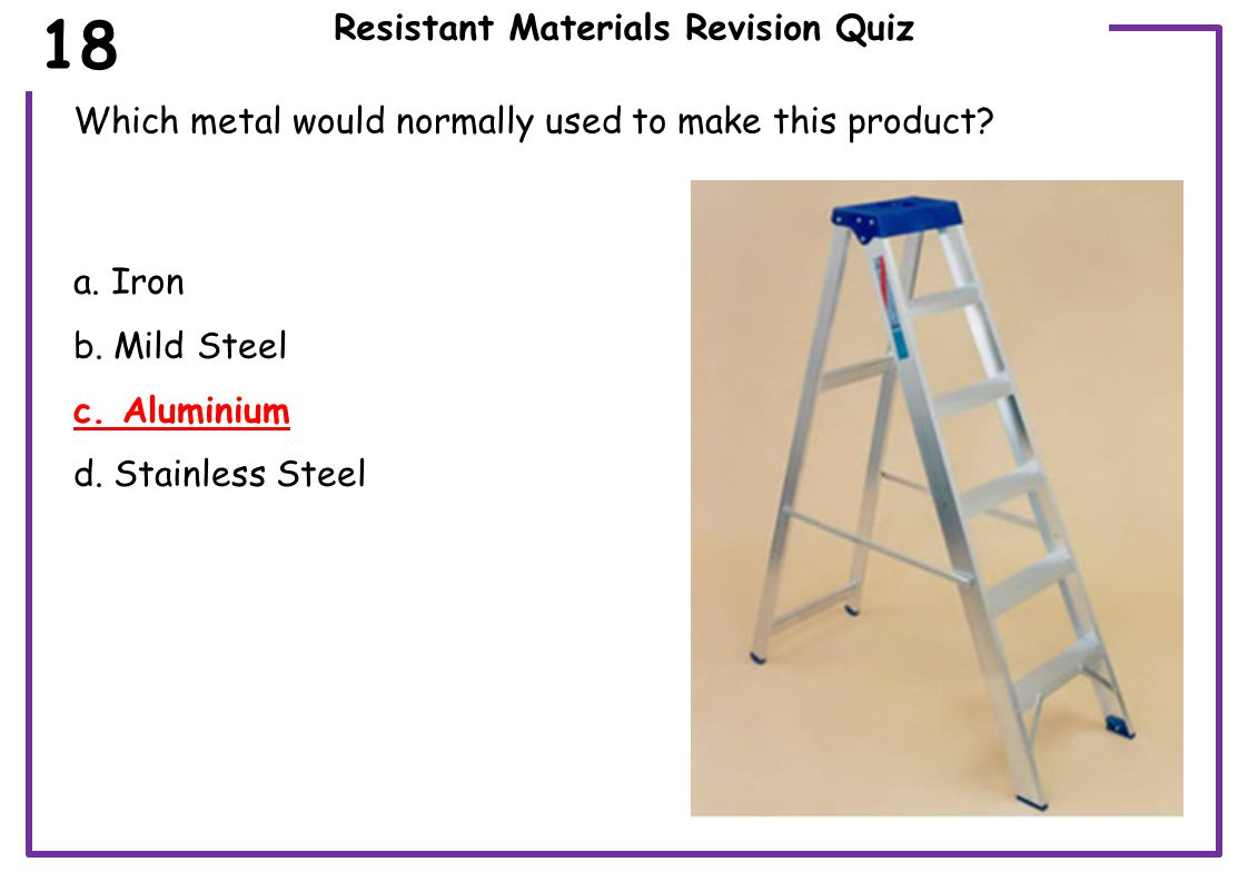 Resistant Materials Revision Quiz Which metal would normally used to make this product.