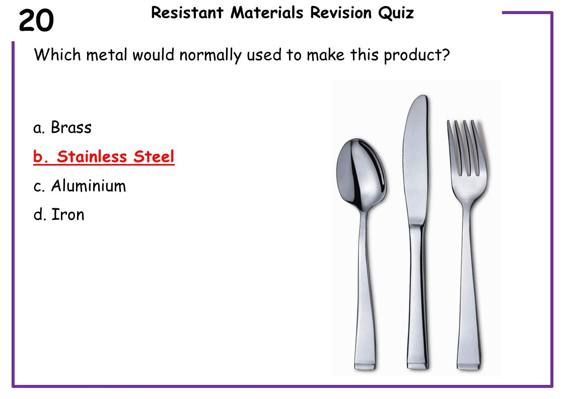 Resistant Materials Revision Quiz Which metal would normally used to make this product (Blacksmiths Anvil).