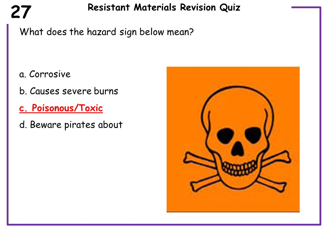 Resistant Materials Revision Quiz If you are entering a building site which sign is applicable when working with hot/sharp materials 28 a.