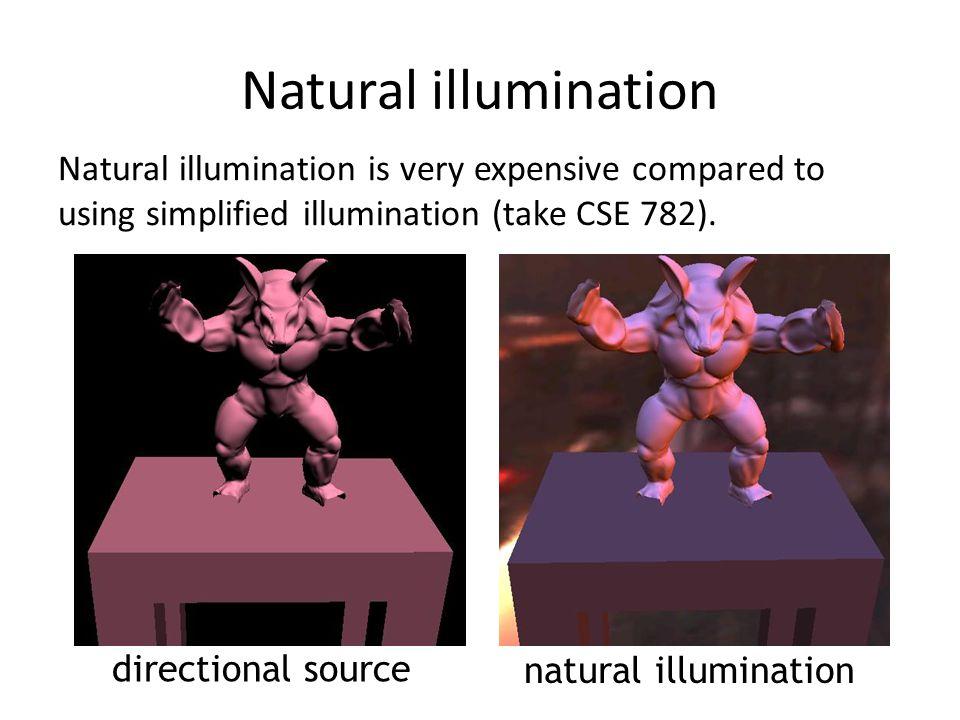 Natural illumination Natural illumination is very expensive compared to using simplified illumination (take CSE 782). directional source natural illum