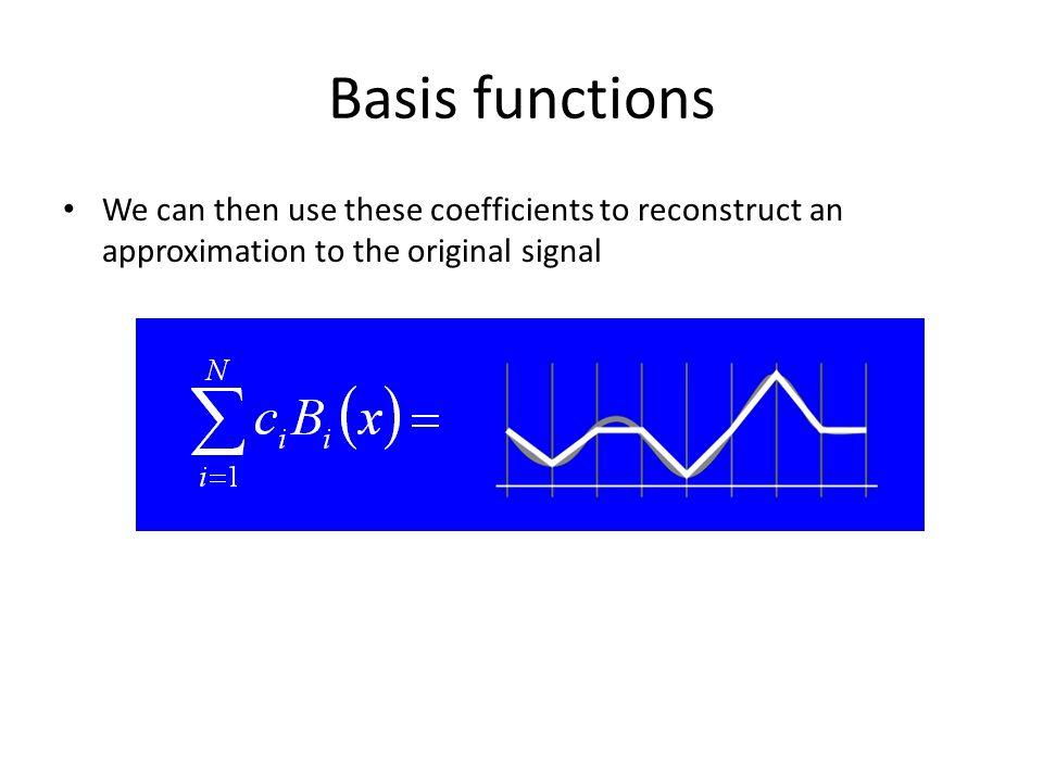 We can then use these coefficients to reconstruct an approximation to the original signal Basis functions