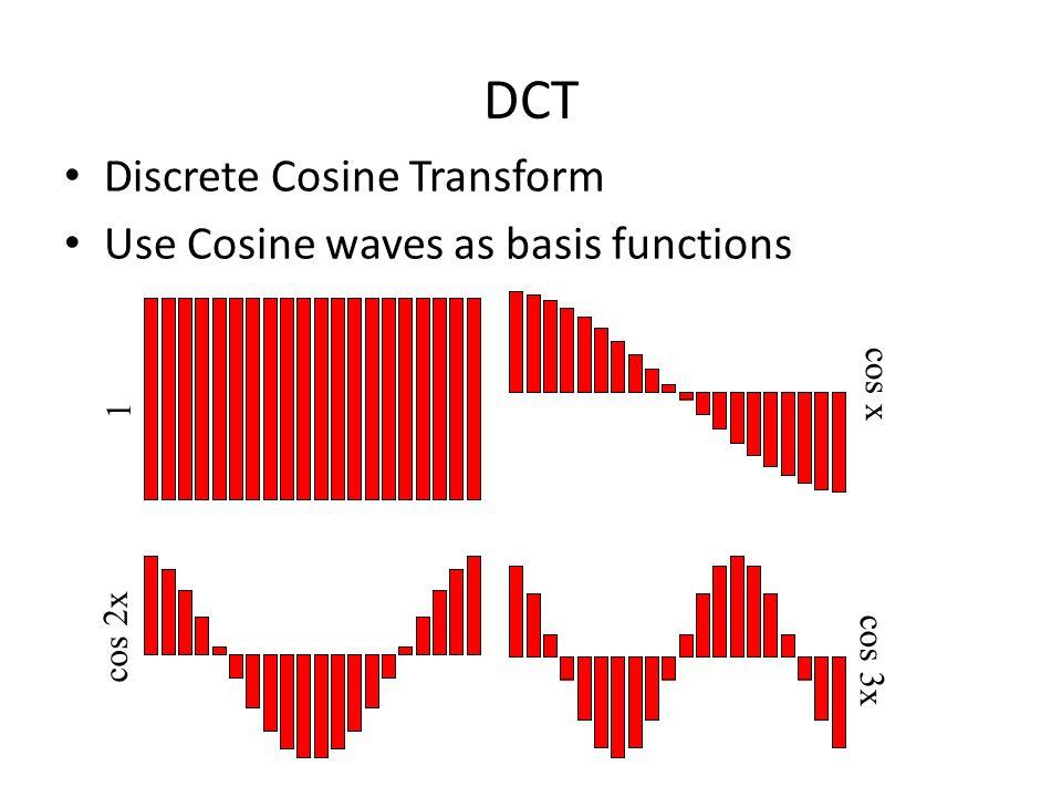DCT Discrete Cosine Transform Use Cosine waves as basis functions 1 cos x cos 2x cos 3x