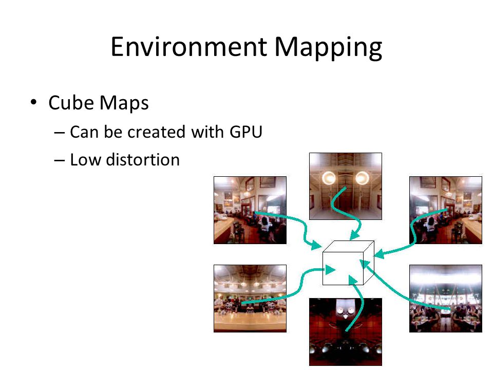 Environment Mapping Cube Maps – Can be created with GPU – Low distortion