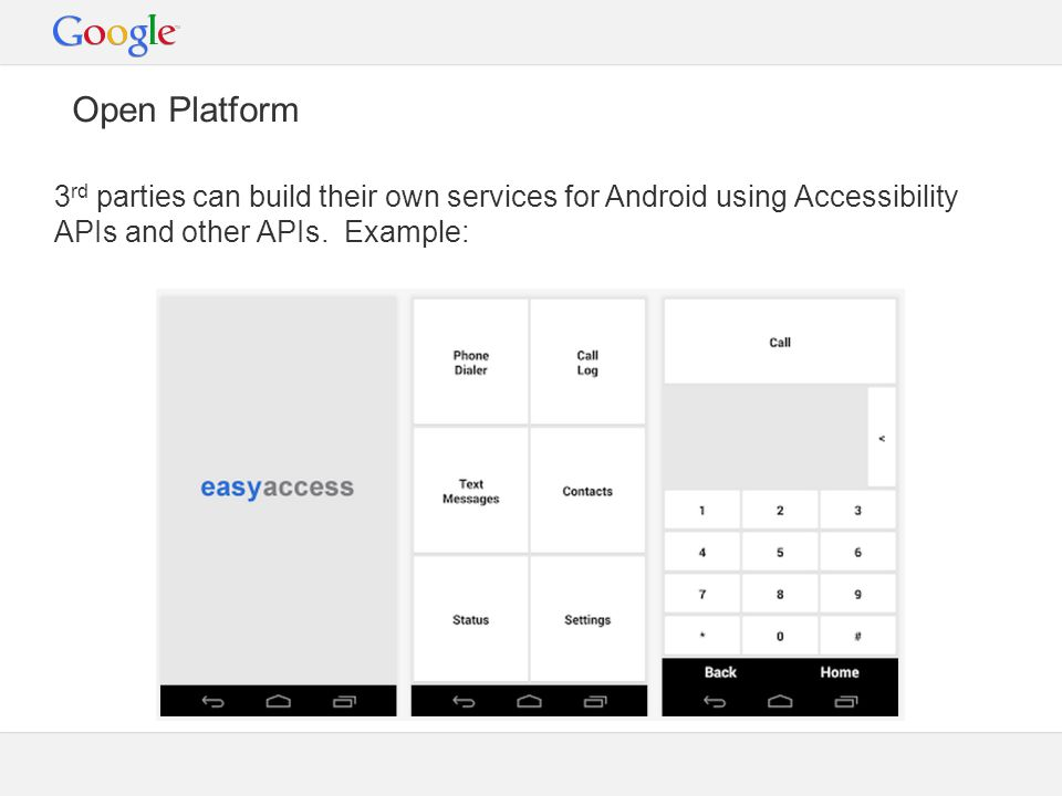 Open Platform 3 rd parties can build their own services for Android using Accessibility APIs and other APIs.