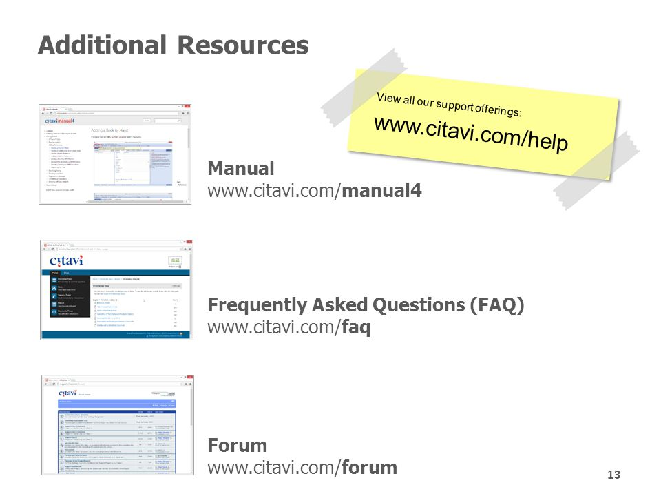 Additional Resources Forum www.citavi.com/forum Frequently Asked Questions (FAQ) www.citavi.com/faq View all our support offerings: www.citavi.com/help View all our support offerings: www.citavi.com/help Manual www.citavi.com/manual4 13