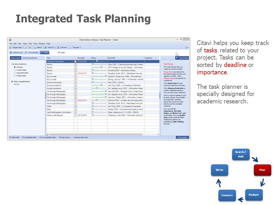 Integrated Task Planning Citavi helps you keep track of tasks related to your project.
