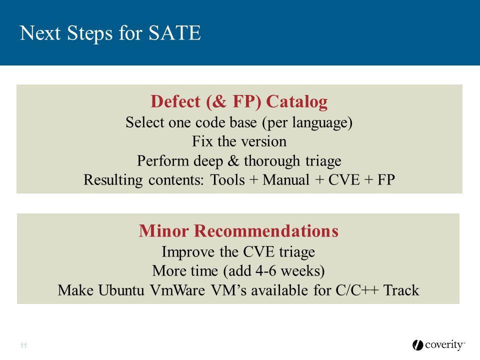 11 Next Steps for SATE 11ALL MATERIALS CONFIDENTIAL Defect (& FP) Catalog Select one code base (per language) Fix the version Perform deep & thorough
