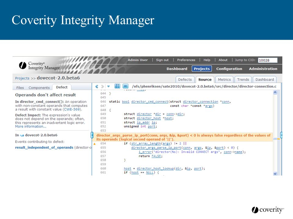 Coverity Integrity Manager