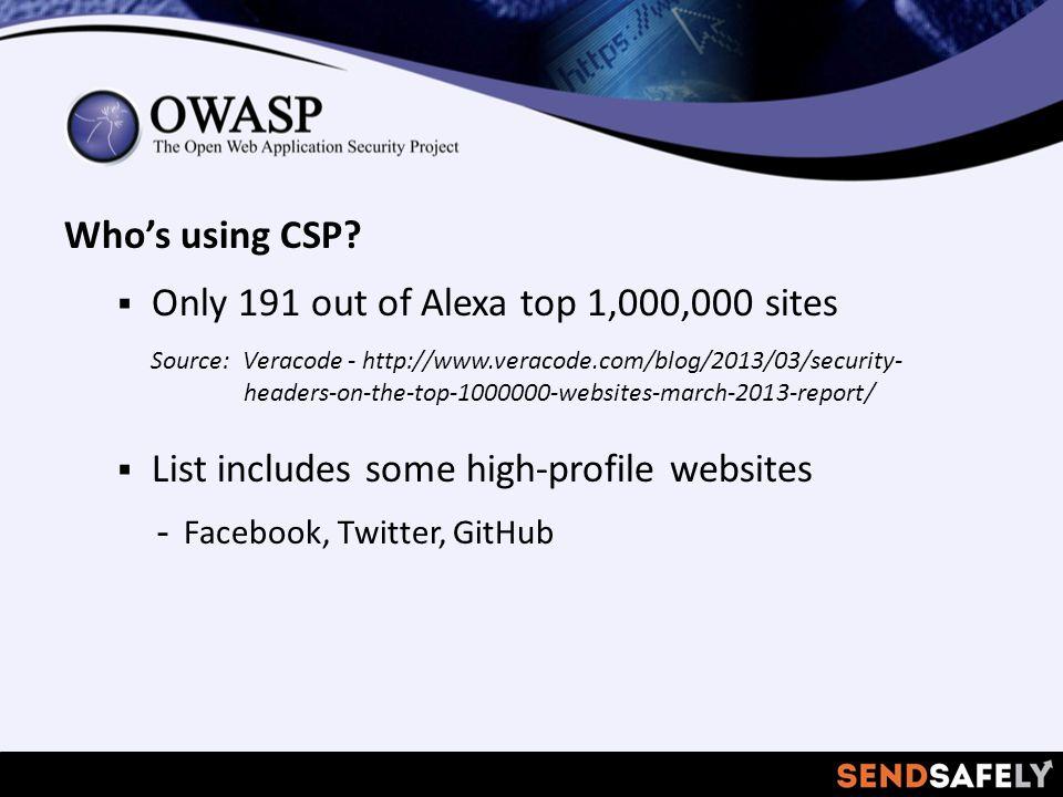 Who's using CSP.
