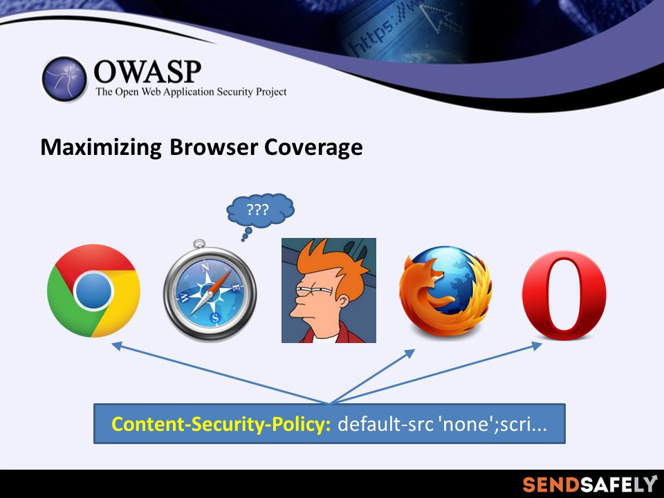 Maximizing Browser Coverage Content-Security-Policy: default-src none ;scri...