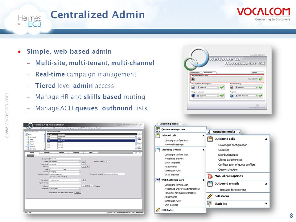 www.vocalcom.com High Availability Voice  Keep-alive technology –Automatic gateway switching –Call context synchronization, active calls unaffected during a switchover  Hitless software upgrades –Can upgrade SBC firmware without disturbing current calls  High capacity and scalability –Upto 10,000 agents supported on a single gateway  Designed for PCI Compliance  Multi-point voice redundancy –1+1 redundancy scheme –Dual protocol, ports, blades, gateways, geographies