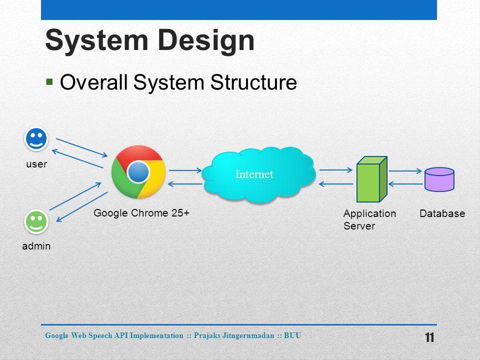 System Design  Overall System Structure 11 Google Web Speech API Implementation :: Prajaks Jitngernmadan :: BUU Internet user admin Google Chrome 25+ Application Server Database