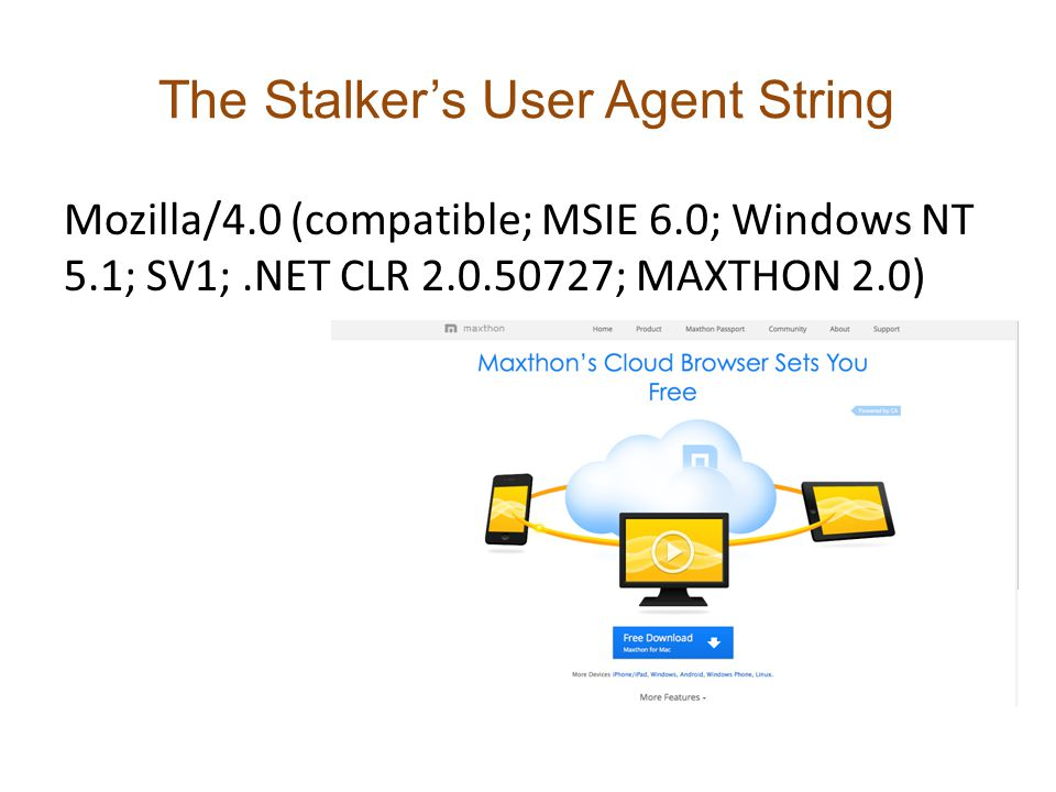 The Stalker's User Agent String Mozilla/4.0 (compatible; MSIE 6.0; Windows NT 5.1; SV1;.NET CLR 2.0.50727; MAXTHON 2.0)