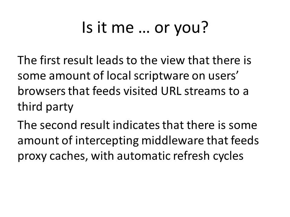 Is it me … or you? The first result leads to the view that there is some amount of local scriptware on users' browsers that feeds visited URL streams