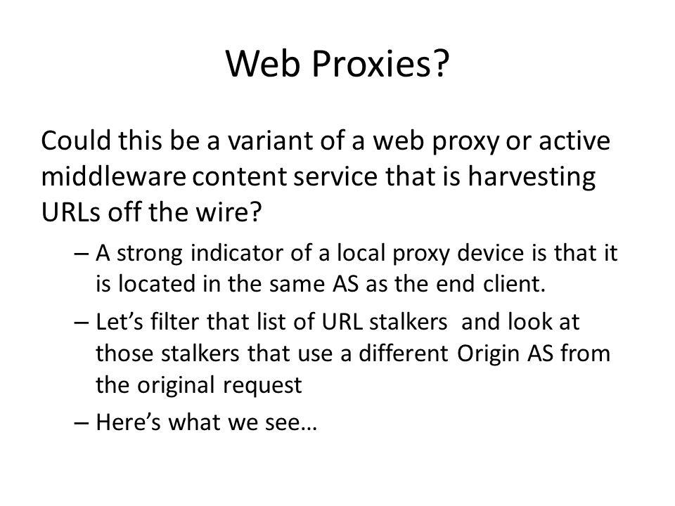 Web Proxies.
