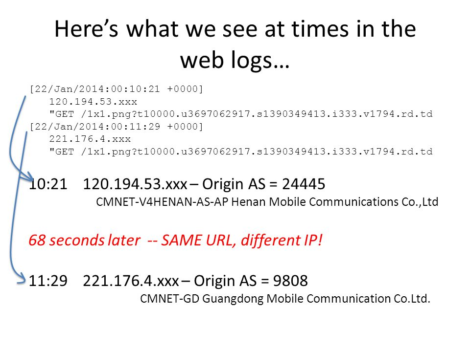 Here's what we see at times in the web logs… [22/Jan/2014:00:10:21 +0000] 120.194.53.xxx