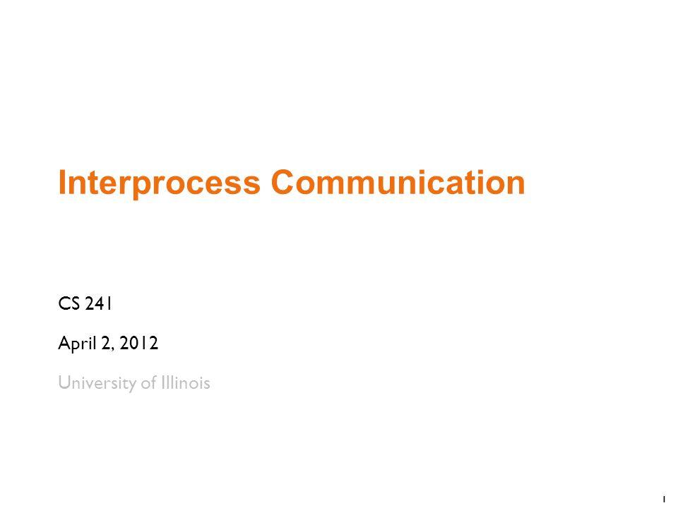 2 Interprocess Communciation What is IPC.