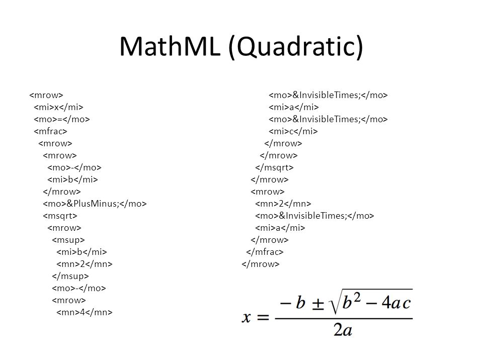 MathML x = y 2 + z 2