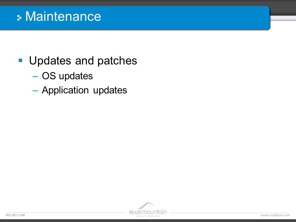 Maintenance  Updates and patches –OS updates –Application updates