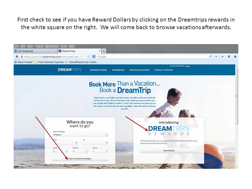 First check to see if you have Reward Dollars by clicking on the Dreamtrips rewards in the white square on the right.