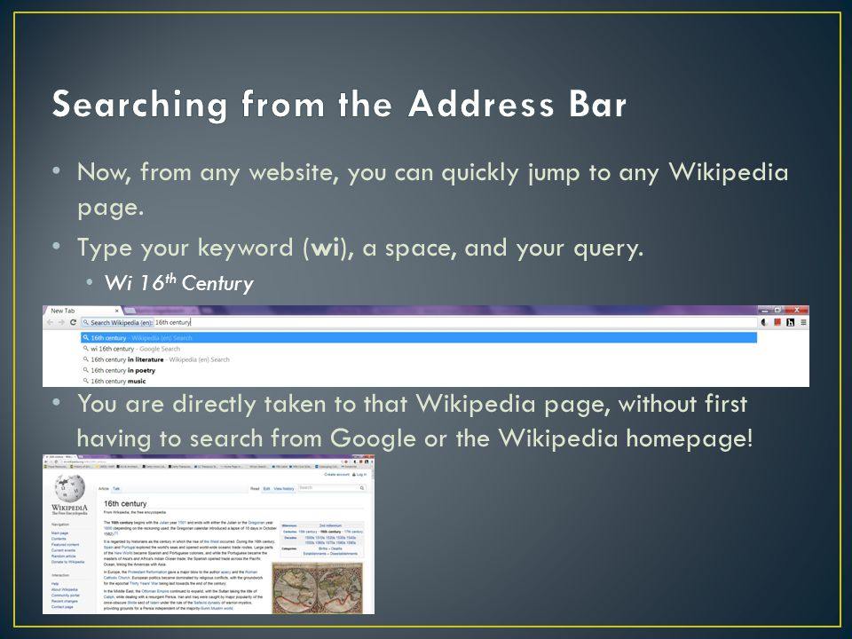 Now, from any website, you can quickly jump to any Wikipedia page.