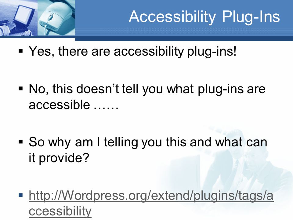 WordPress Plug-Ins  When we talk about WordPress Plug-Ins you probably think of the common ones such as:  Contact Form  NexGen Gallery  Smart YouTube Pro  However, have you thought about how accessible those plug-ins may be