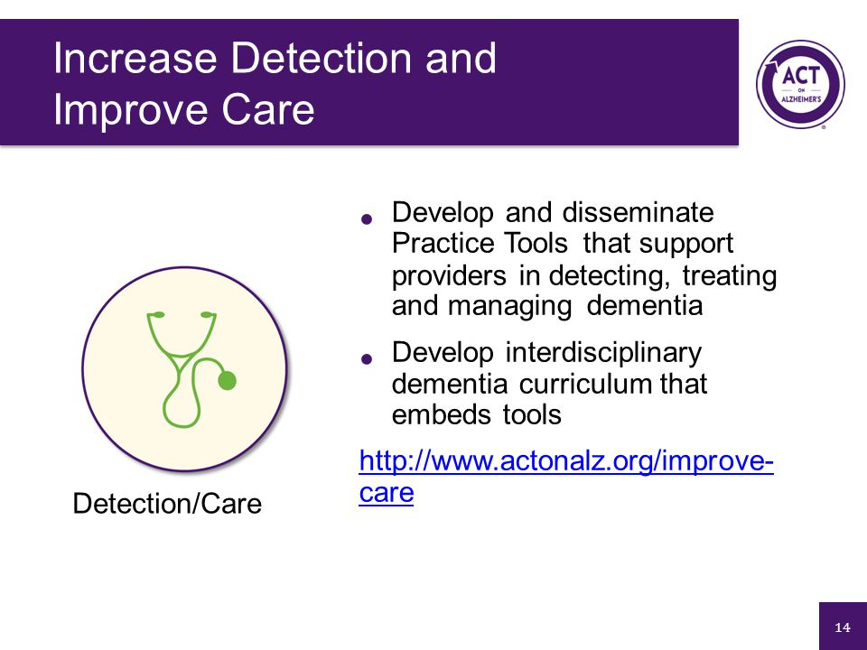14 Develop and disseminate Practice Tools that support providers in detecting, treating and managing dementia Develop interdisciplinary dementia curriculum that embeds tools http://www.actonalz.org/improve- care Detection/Care Increase Detection and Improve Care
