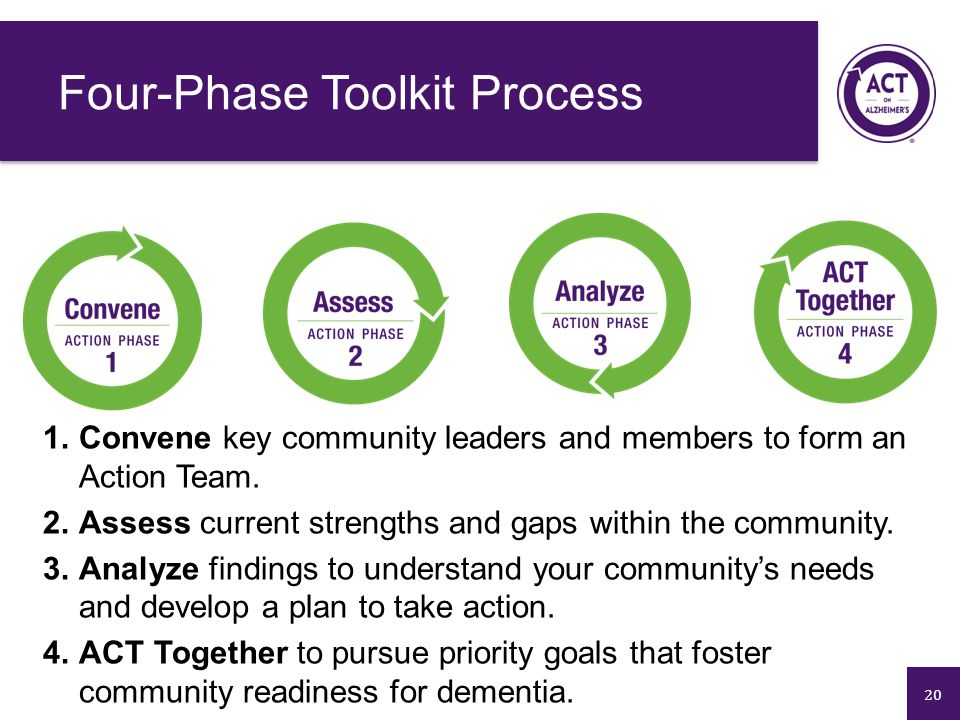 20 1.Convene key community leaders and members to form an Action Team. 2.Assess current strengths and gaps within the community. 3.Analyze findings to
