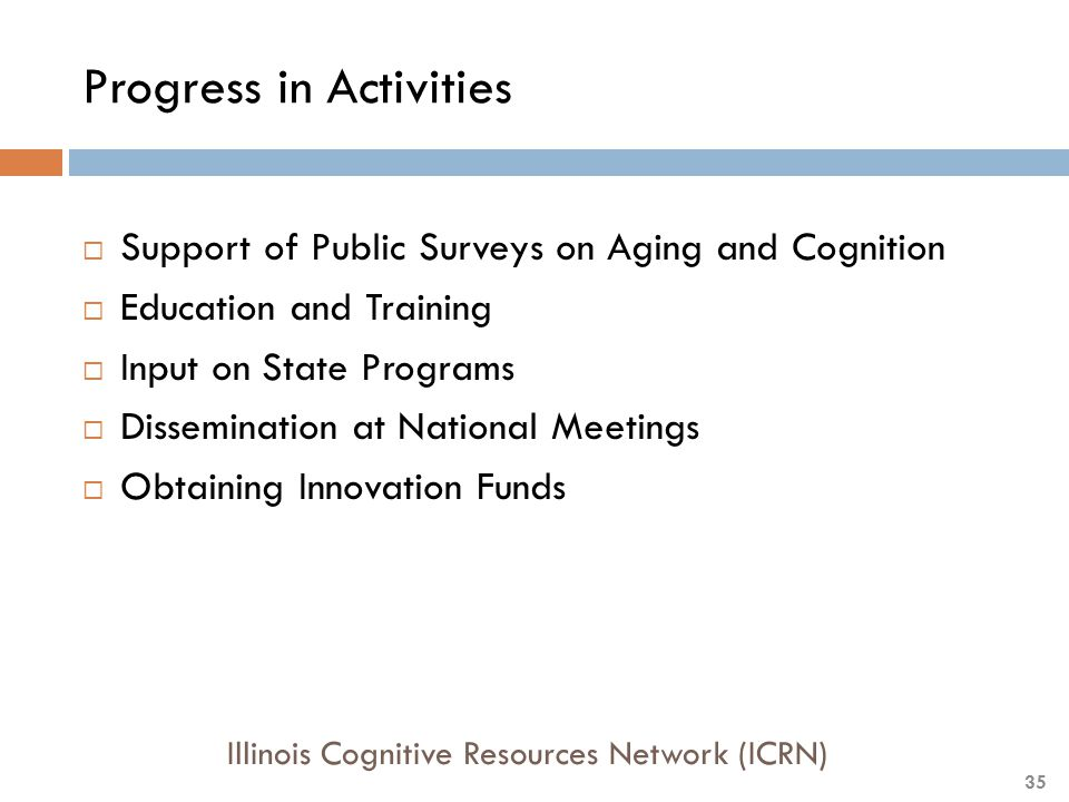 Progress in Activities  Support of Public Surveys on Aging and Cognition  Education and Training  Input on State Programs  Dissemination at National Meetings  Obtaining Innovation Funds Illinois Cognitive Resources Network (ICRN) 35