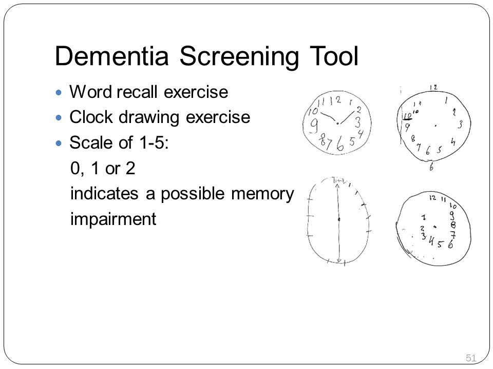Dementia Screening Tool Word recall exercise Clock drawing exercise Scale of 1-5: 0, 1 or 2 indicates a possible memory impairment 51