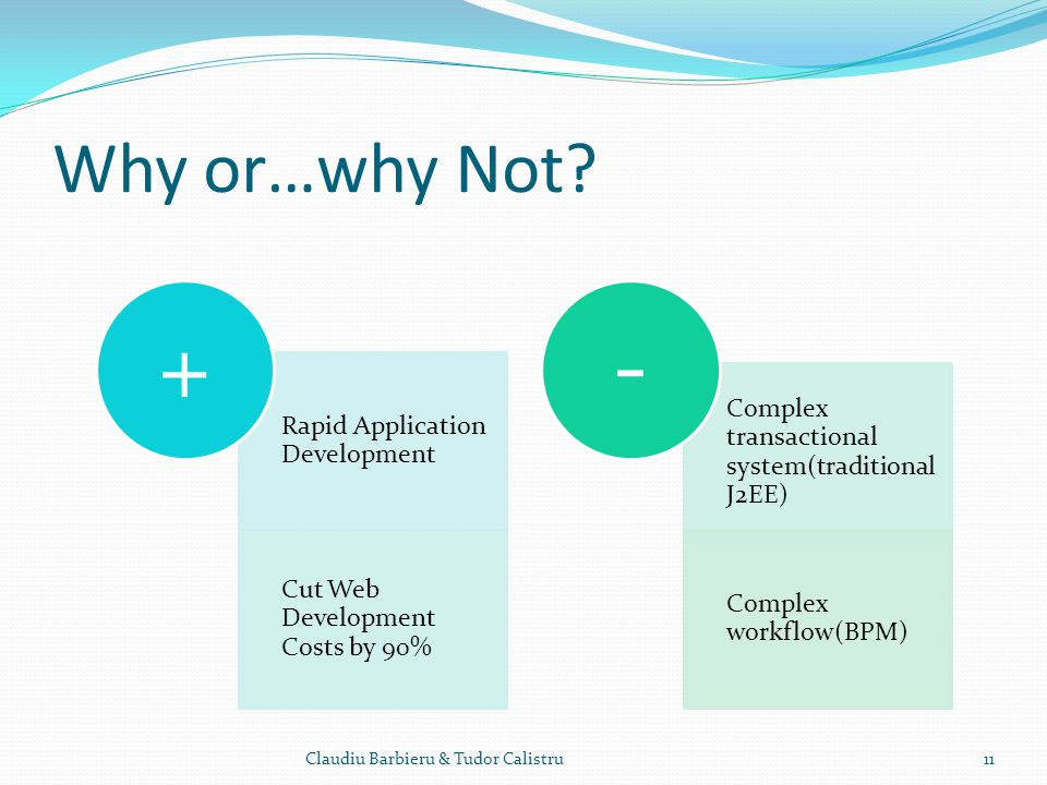 Why or…why Not? Claudiu Barbieru & Tudor Calistru11 Rapid Application Development Cut Web Development Costs by 90% + Complex transactional system(trad
