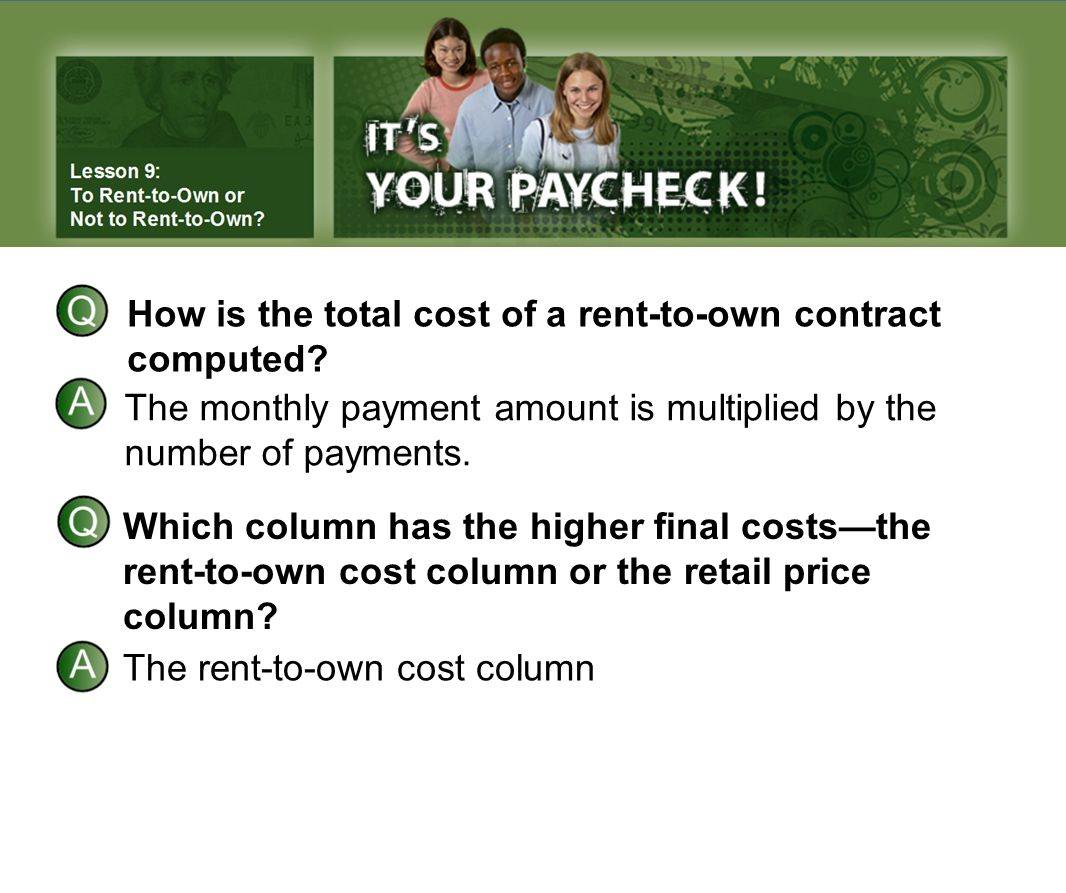 How is the total cost of a rent-to-own contract computed.