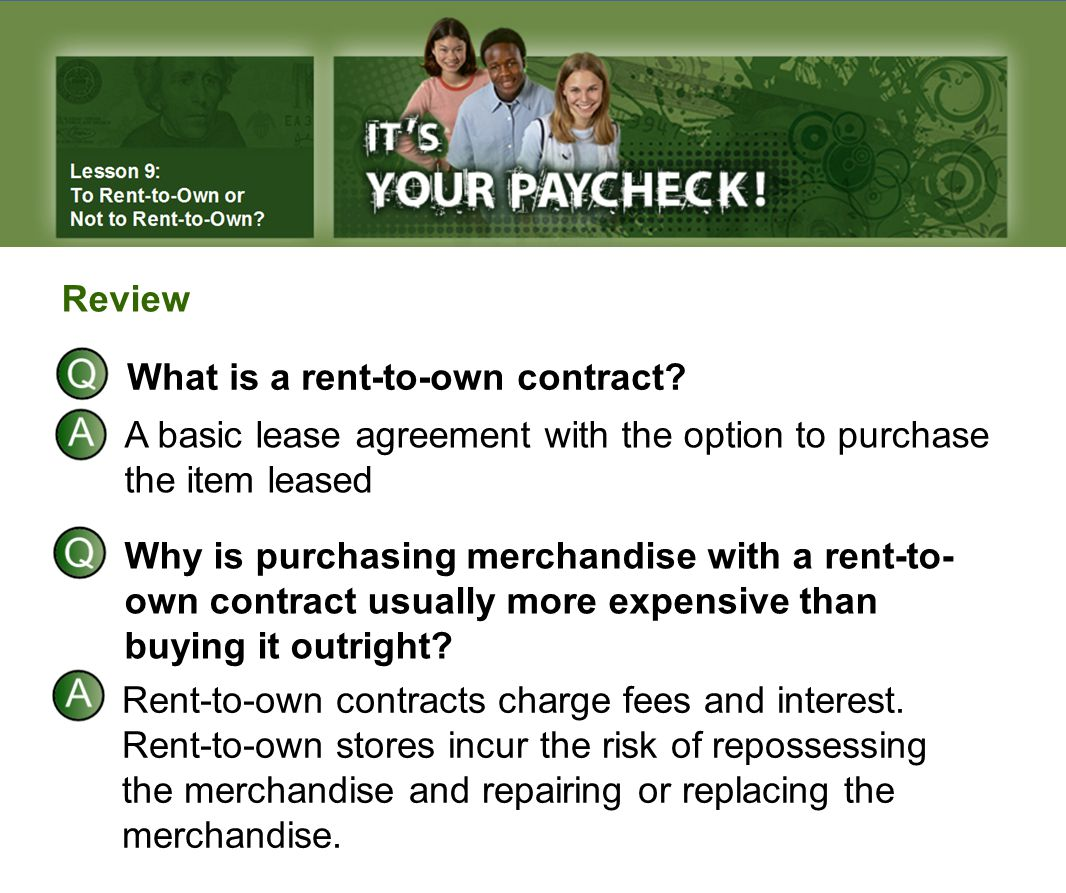 What is a rent-to-own contract.