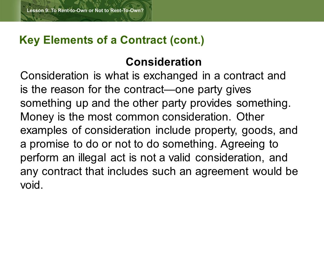 How is mutual agreement established in a rent- to-own contract.