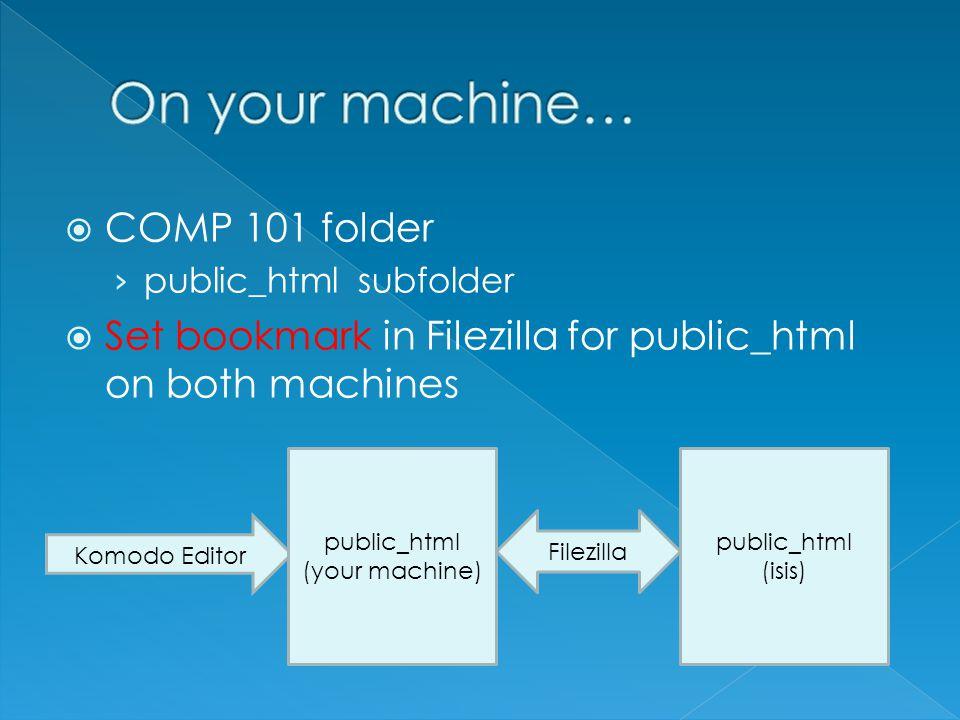  COMP 101 folder › public_html subfolder  Set bookmark in Filezilla for public_html on both machines public_html (your machine) public_html (isis) Filezilla Komodo Editor