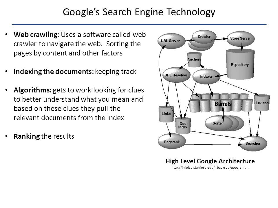Google's Search Engine Technology High Level Google Architecture http://infolab.stanford.edu/~backrub/google.html Web crawling: Uses a software called web crawler to navigate the web.