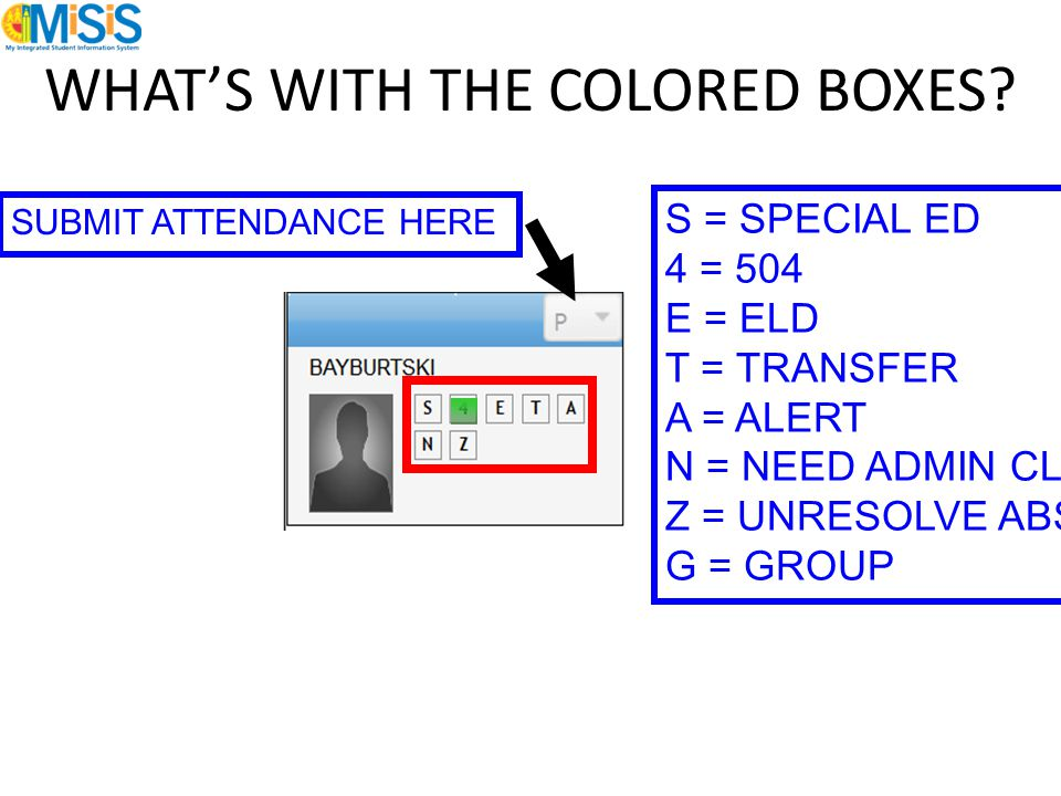WHAT'S WITH THE COLORED BOXES? S = SPECIAL ED 4 = 504 E = ELD T = TRANSFER A = ALERT N = NEED ADMIN CLEARANCE Z = UNRESOLVE ABSENCE G = GROUP SUBMIT A