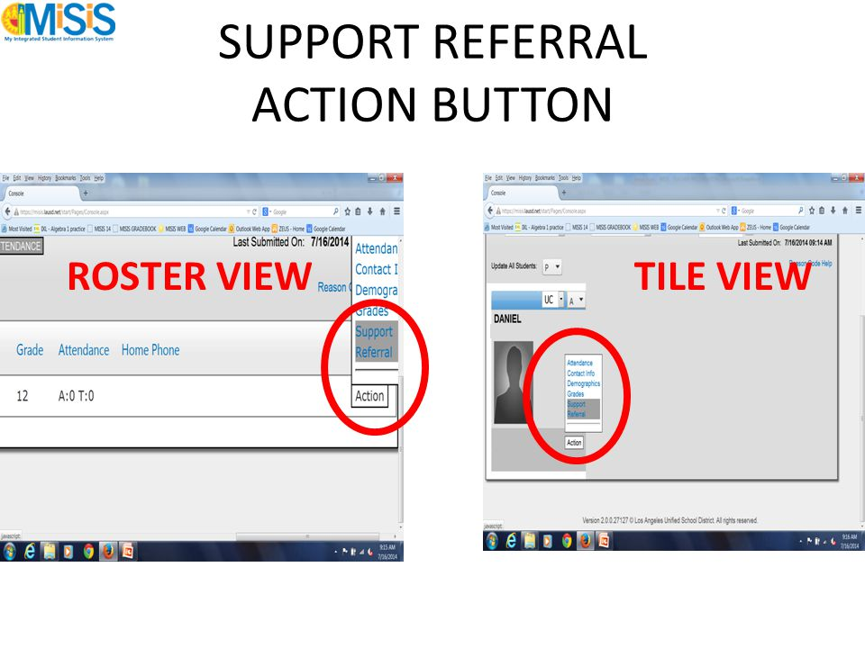SUPPORT REFERRAL ACTION BUTTON ROSTER VIEW TILE VIEW