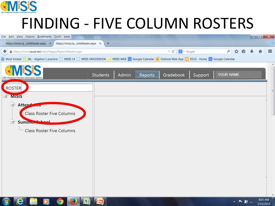 FINDING - FIVE COLUMN ROSTERS YOUR NAME