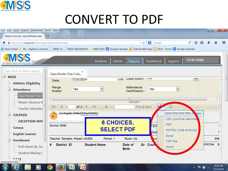 CONVERT TO PDF 6 CHOICES, SELECT PDF YOUR NAME