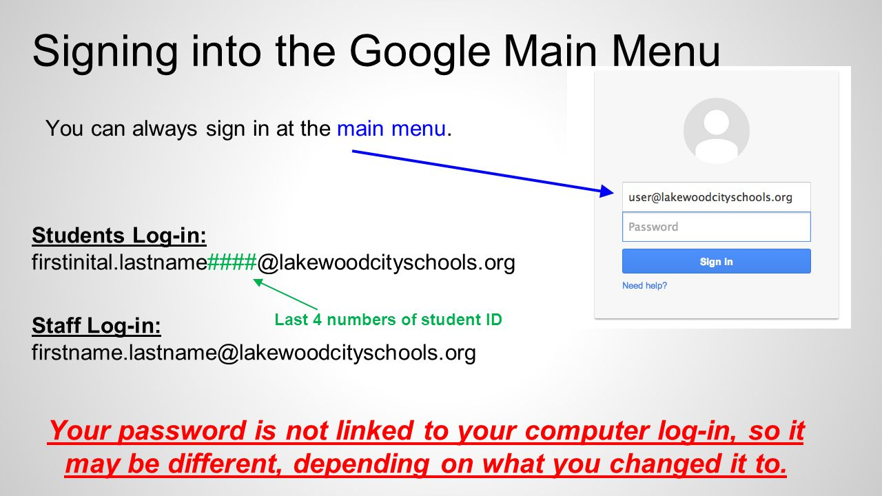 Students Log-in: Staff Log-in: Your password is not linked to your computer log-in, so it may be different, depending on what you changed it to.