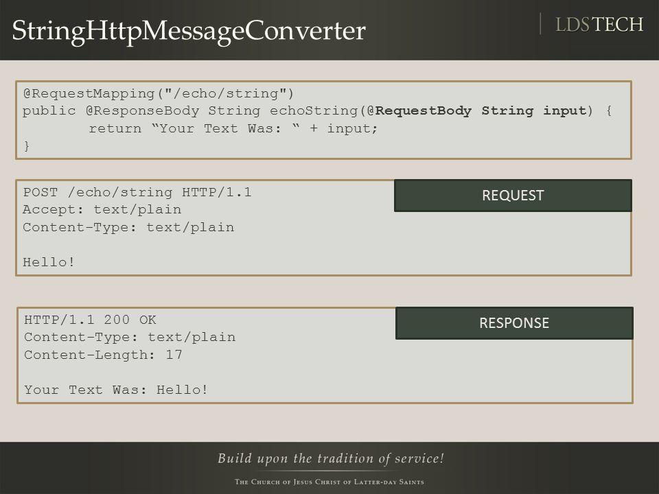 StringHttpMessageConverter a POST /echo/string HTTP/1.1 Accept: text/plain Content-Type: text/plain Hello.
