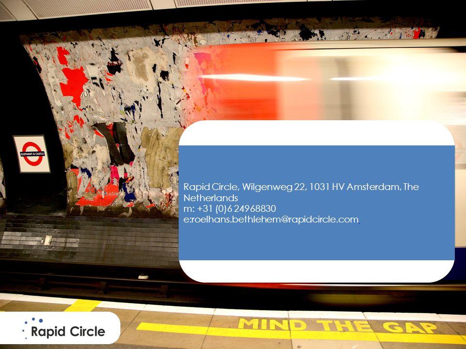 Rapid Circle, Wilgenweg 22, 1031 HV Amsterdam, The Netherlands m: +31 (0)6 24968830 e:roelhans.bethlehem@rapidcircle.com