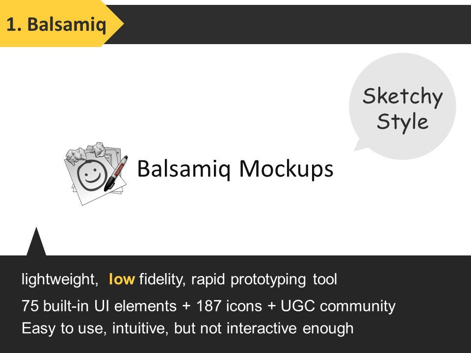 Balsamiq Mockups lightweight, low fidelity, rapid prototyping tool 1.