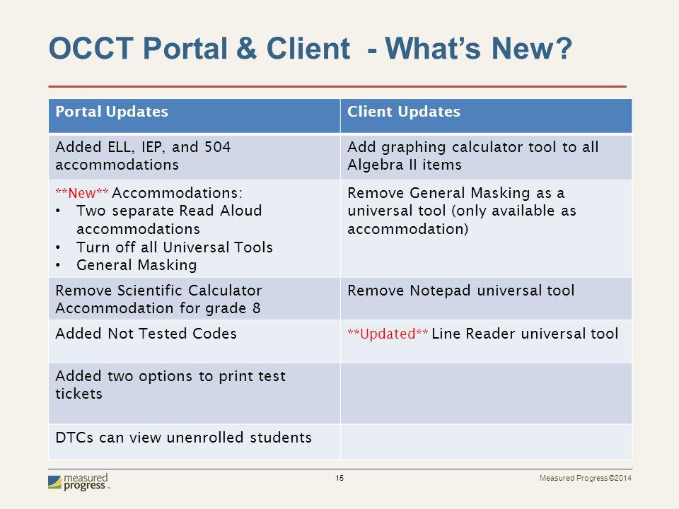 Measured Progress ©2014 15 OCCT Portal & Client - What's New.