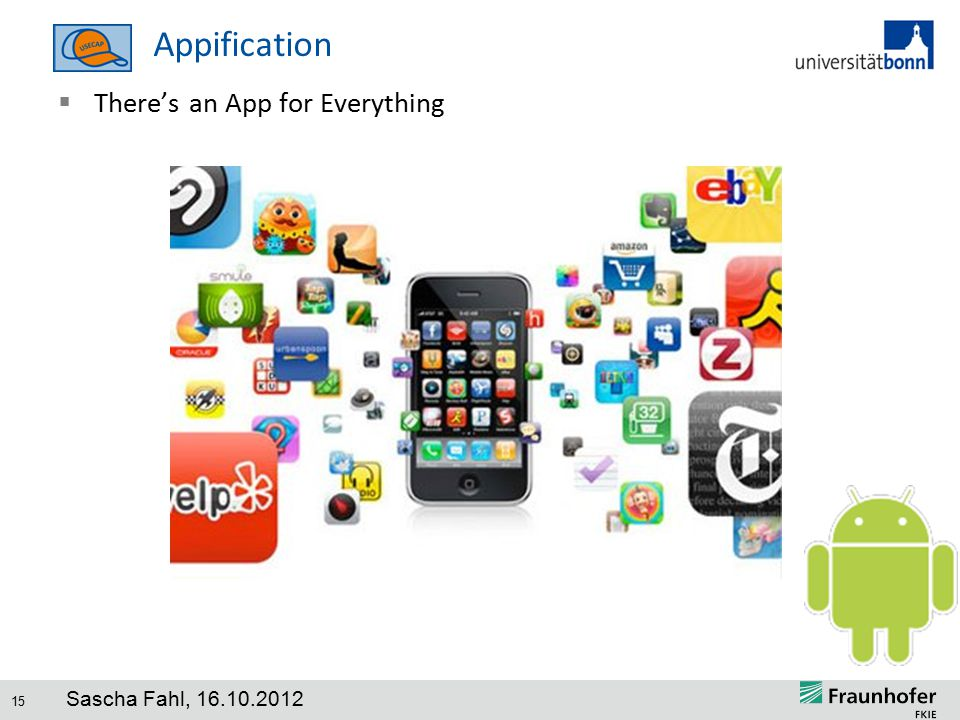 15 Appification  There's an App for Everything Sascha Fahl, 16.10.2012