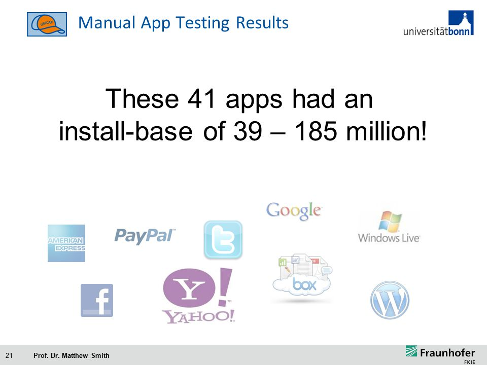 21 Manual App Testing Results These 41 apps had an install-base of 39 – 185 million.