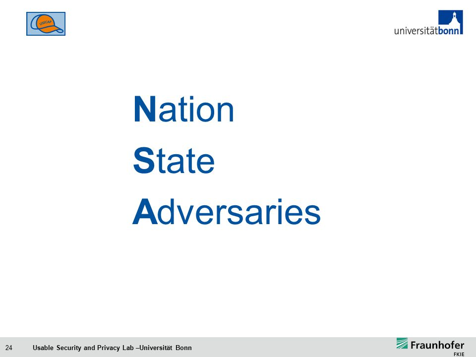 24 Nation State Adversaries Usable Security and Privacy Lab –Universität Bonn