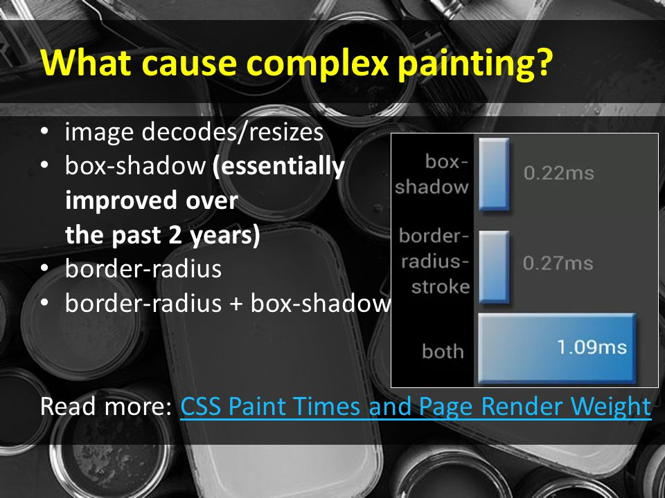 What cause complex painting? image decodes/resizes box-shadow (essentially improved over the past 2 years) border-radius border-radius + box-shadow Re