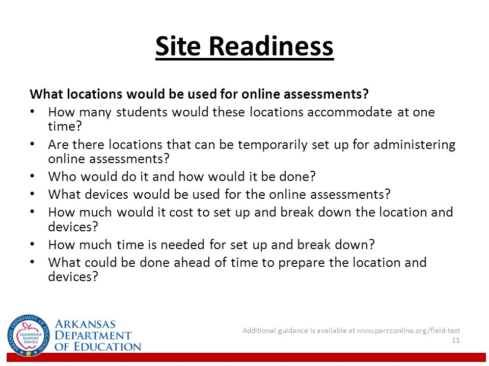 Site Readiness What locations would be used for online assessments.